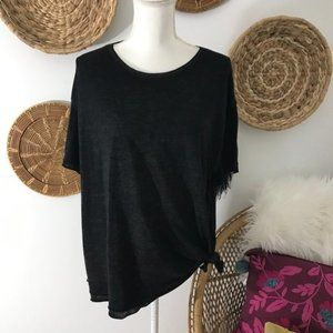 Free People Black Knotted Crew Neck Pullover Tee
